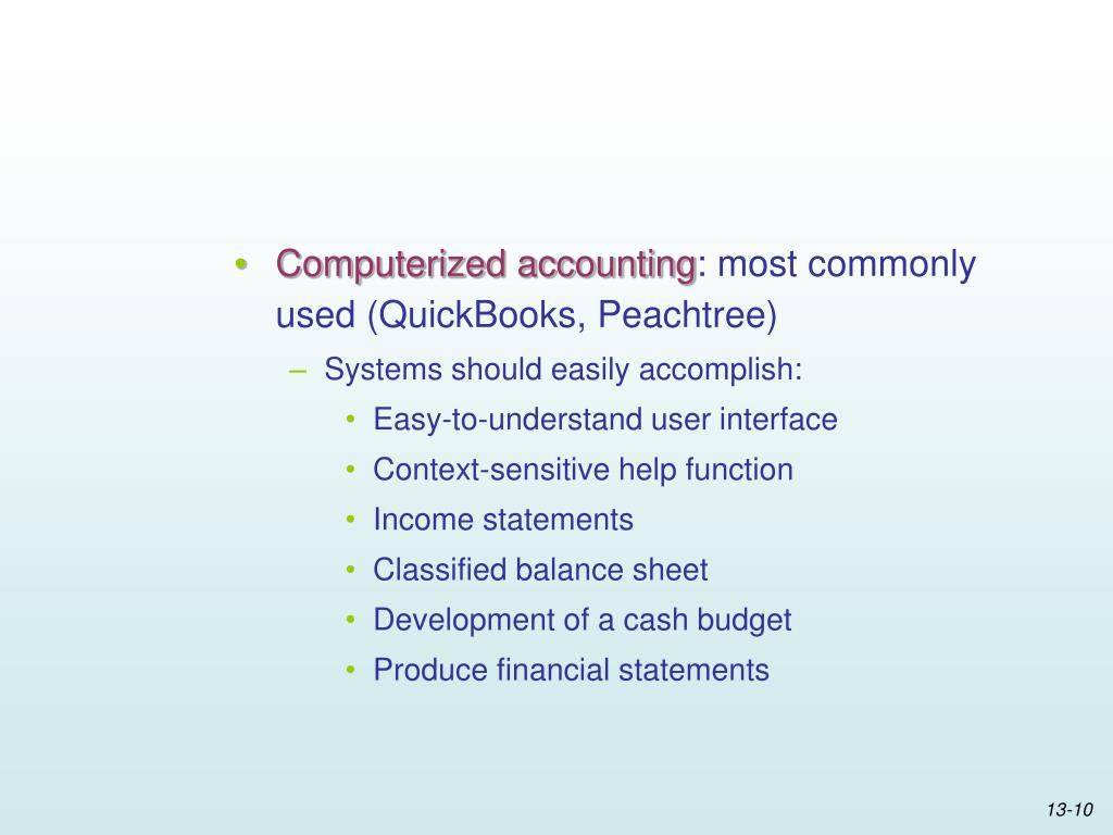 Computerized accounting