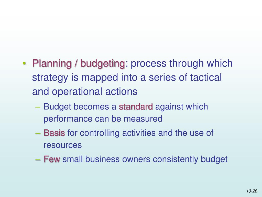 Planning / budgeting