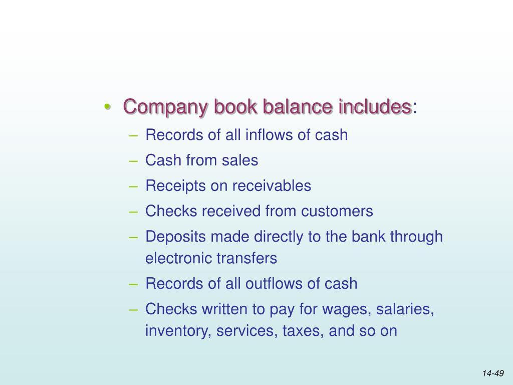 Company book balance includes