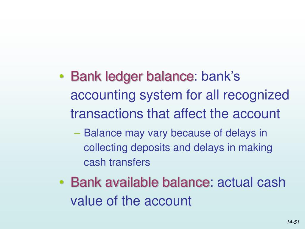 Bank ledger balance