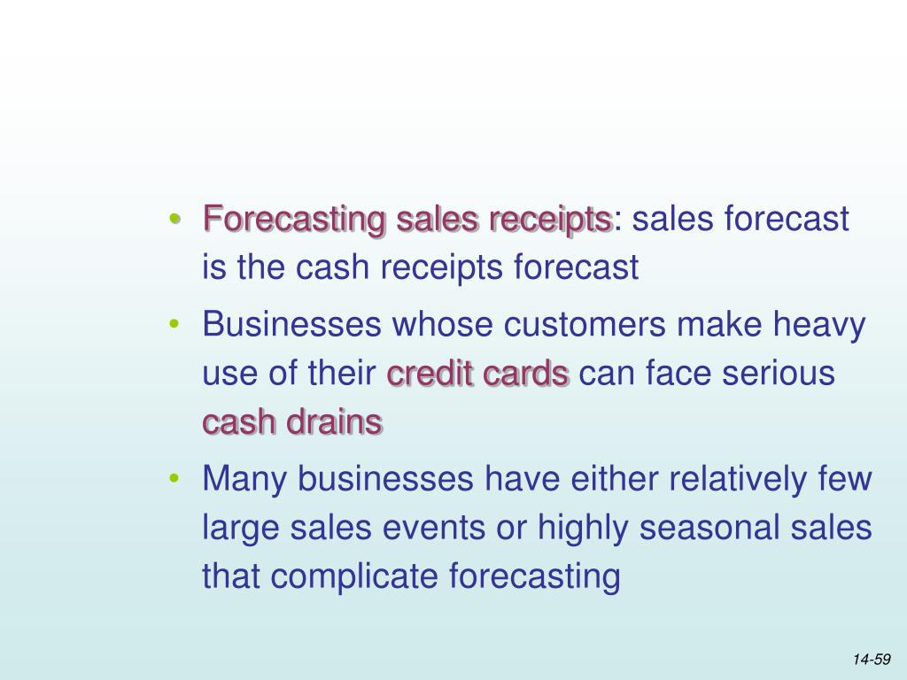 Forecasting sales receipts
