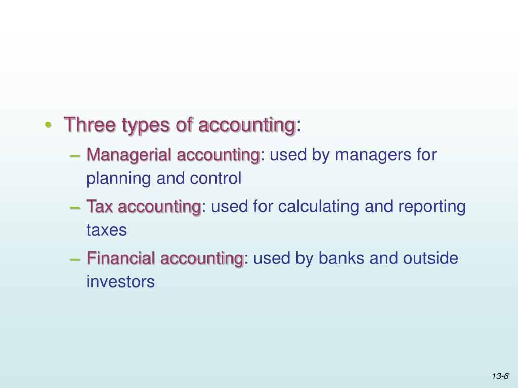 Three types of accounting