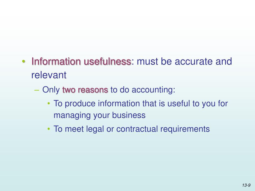 Information usefulness