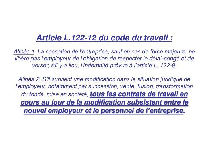 application de l'article L.122-12 alinéa 2 du Code du travail ...