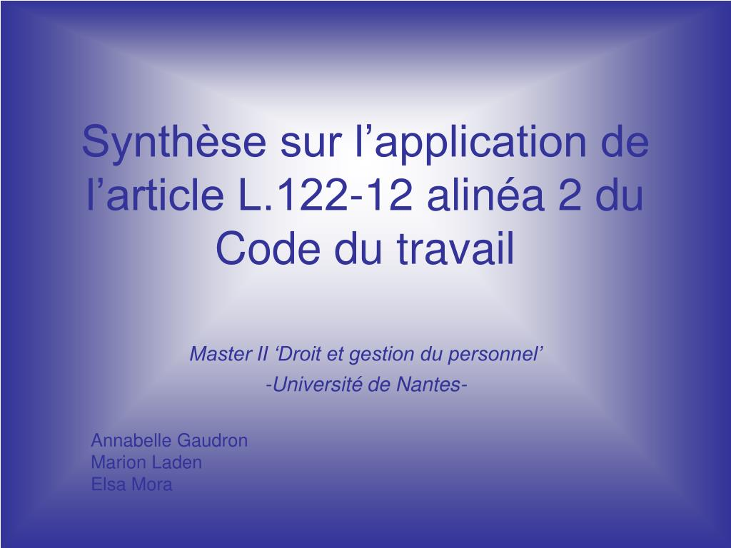 se sur l application de l article L.122-12 alin a 2 du Code du travail ...