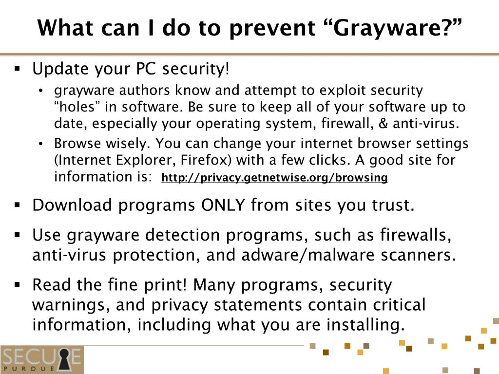 "What can I do to prevent ""Grayware?"""