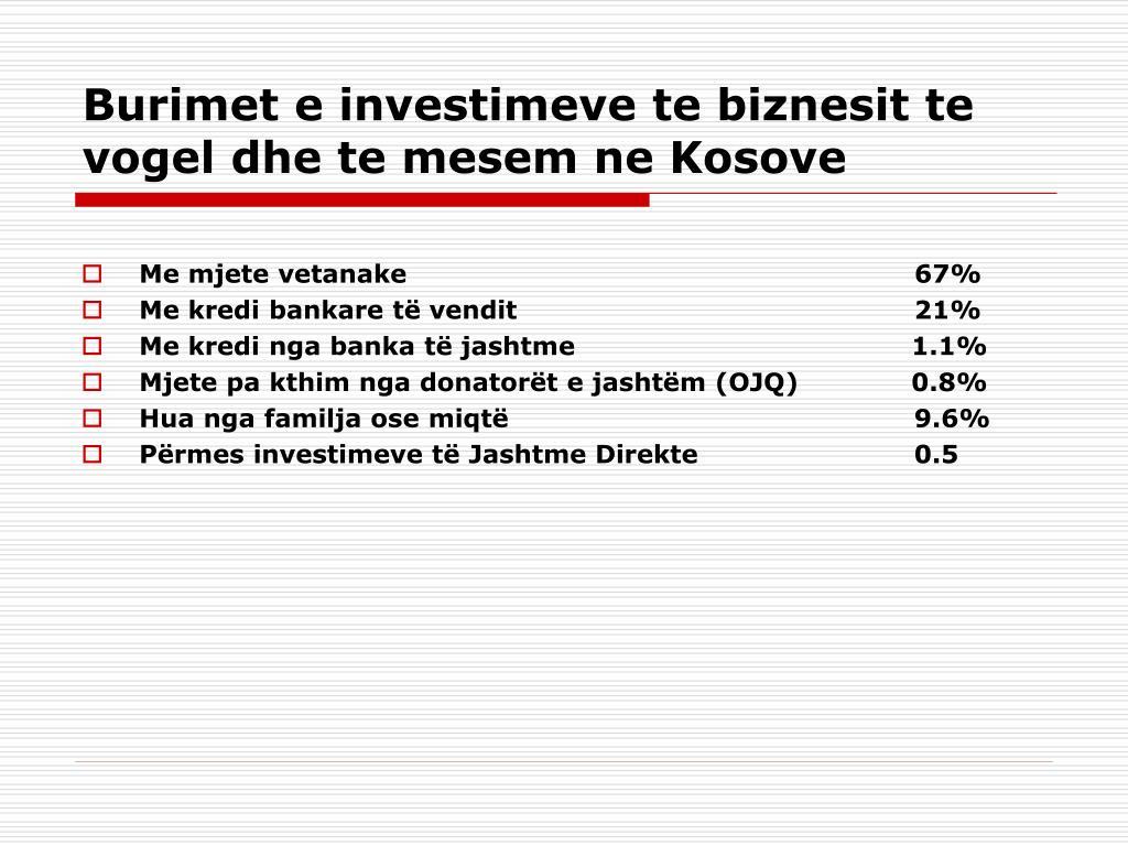 Burimet e investimeve te biznesit te vogel dhe te mesem ne Kosove