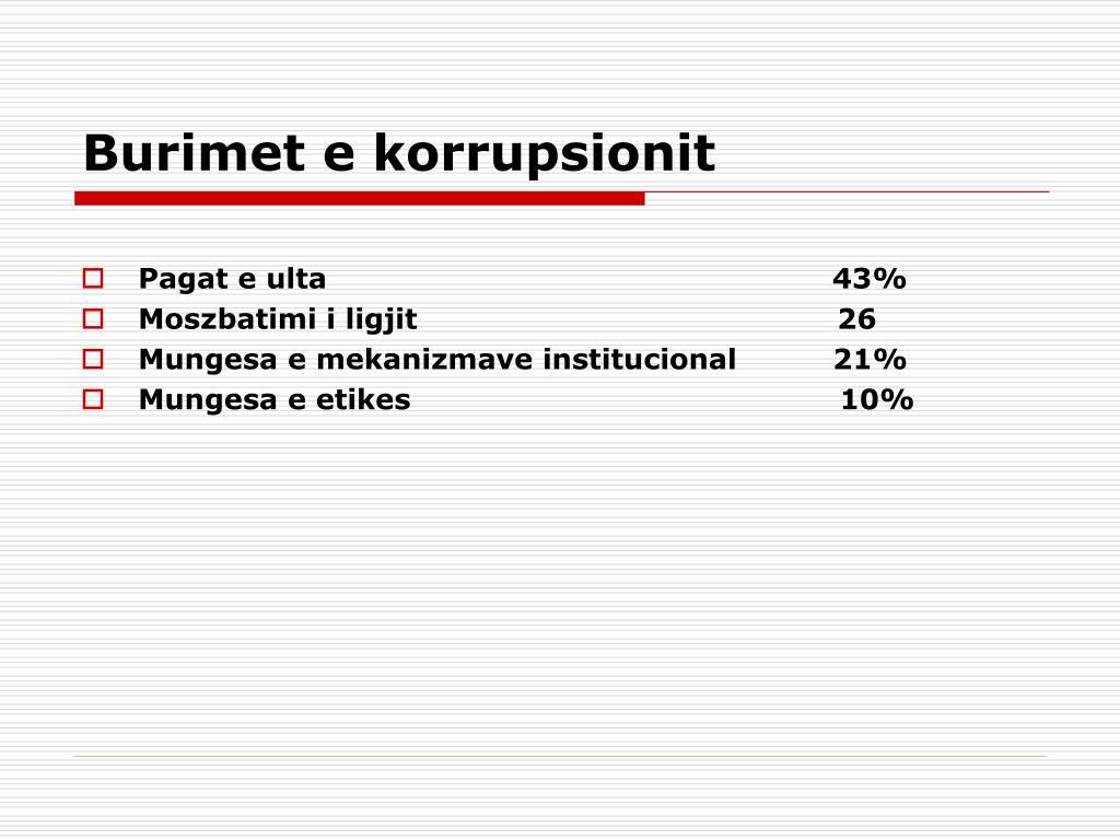 Burimet e korrupsionit