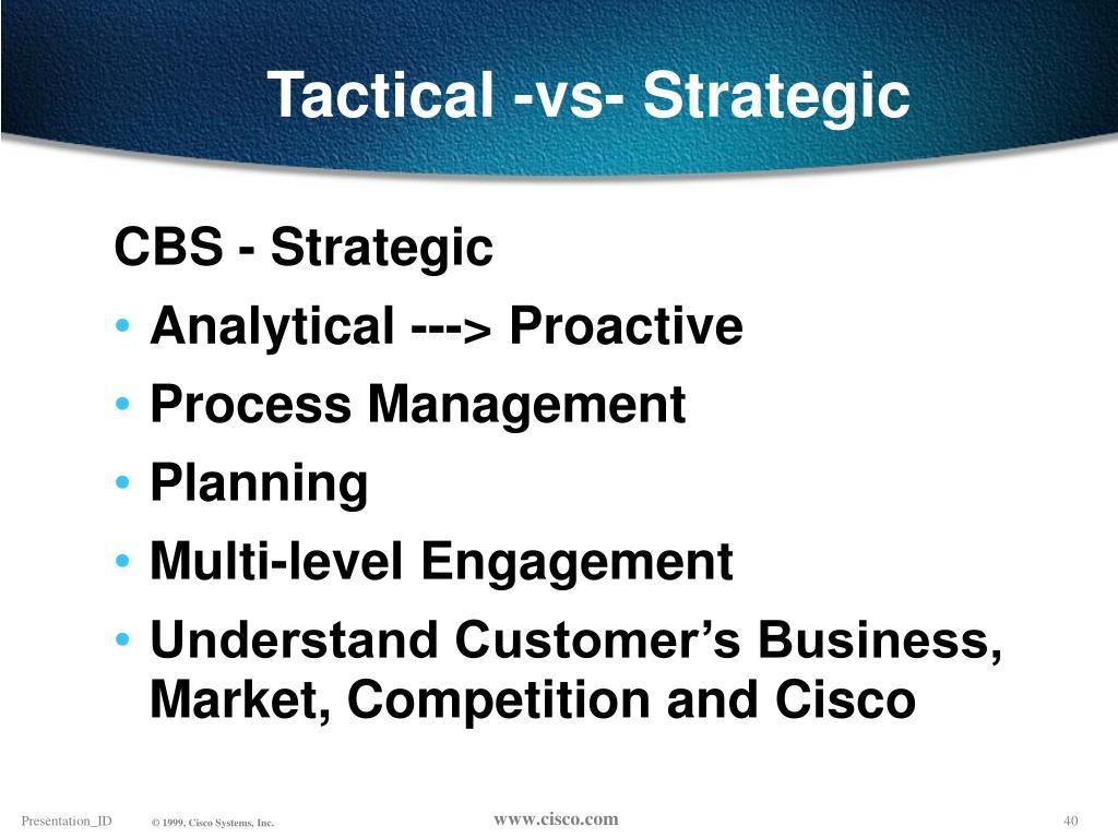 Tactical -vs- Strategic