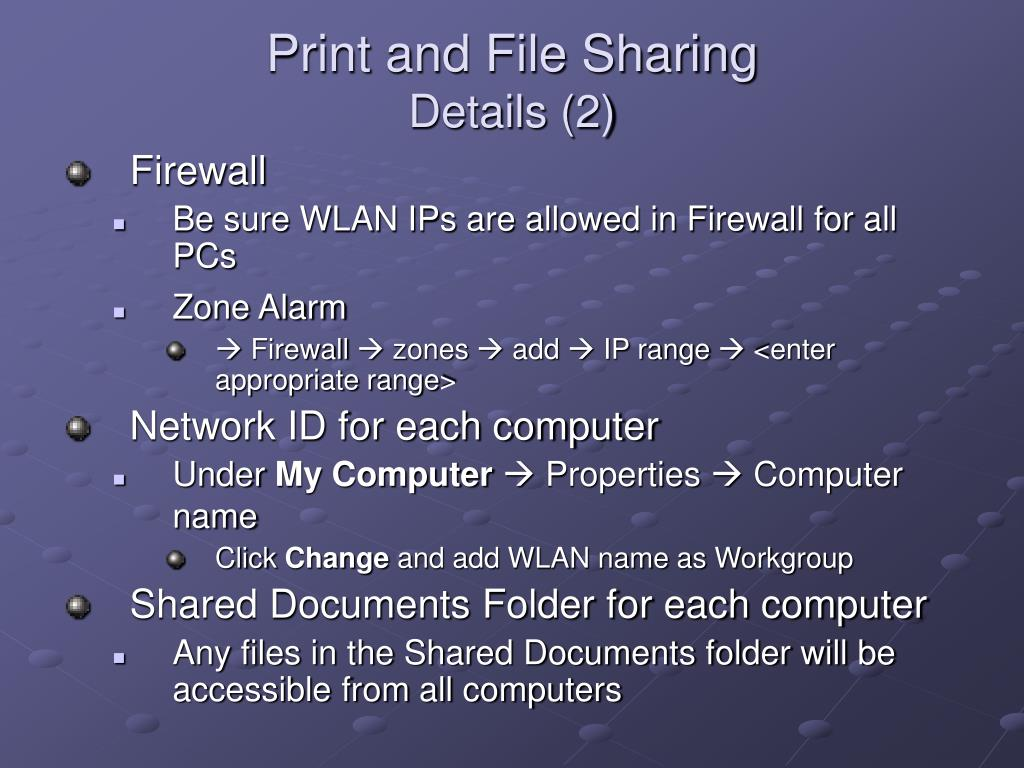 Print and File Sharing
