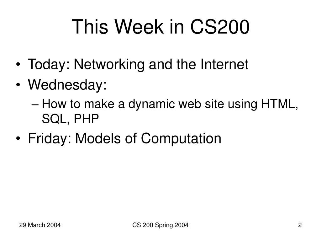 This Week in CS200