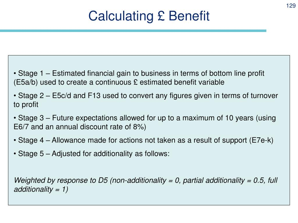 Calculating £ Benefit