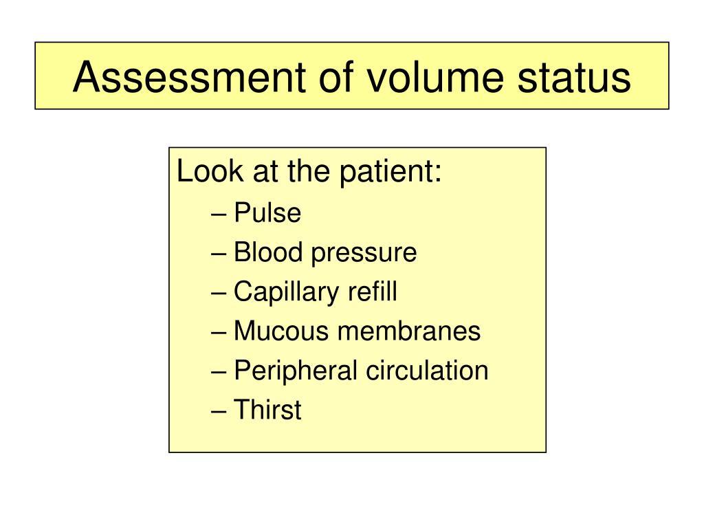 Assessment of volume status