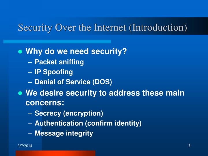 Security over the internet introduction