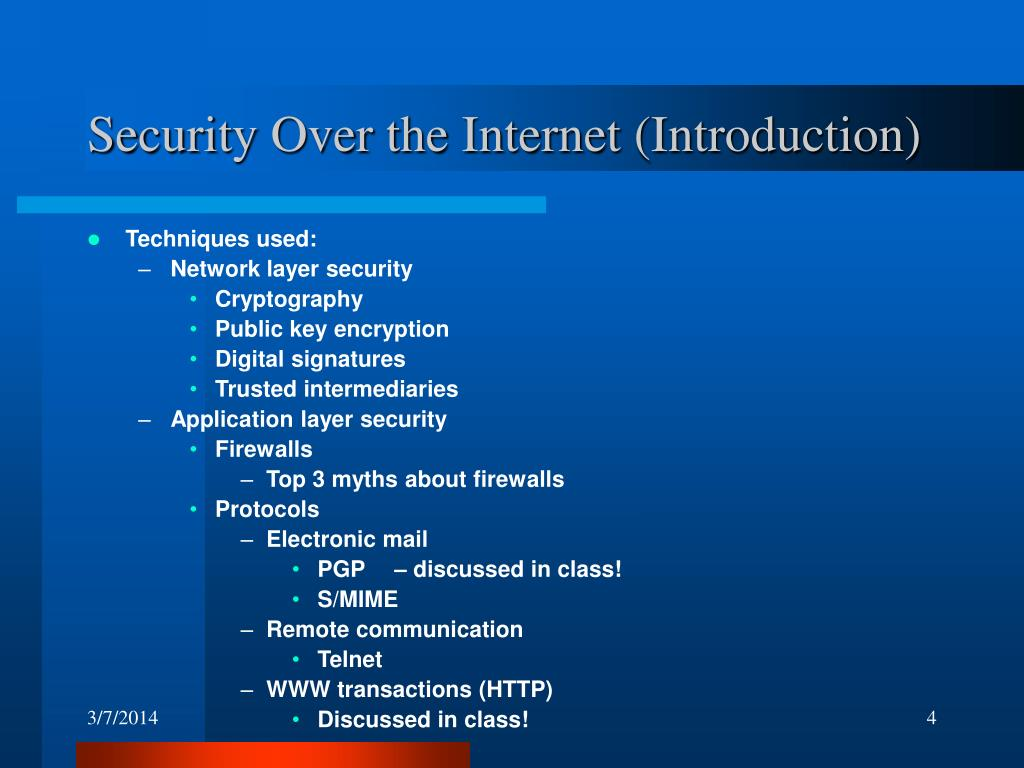 Security Over the Internet (Introduction)
