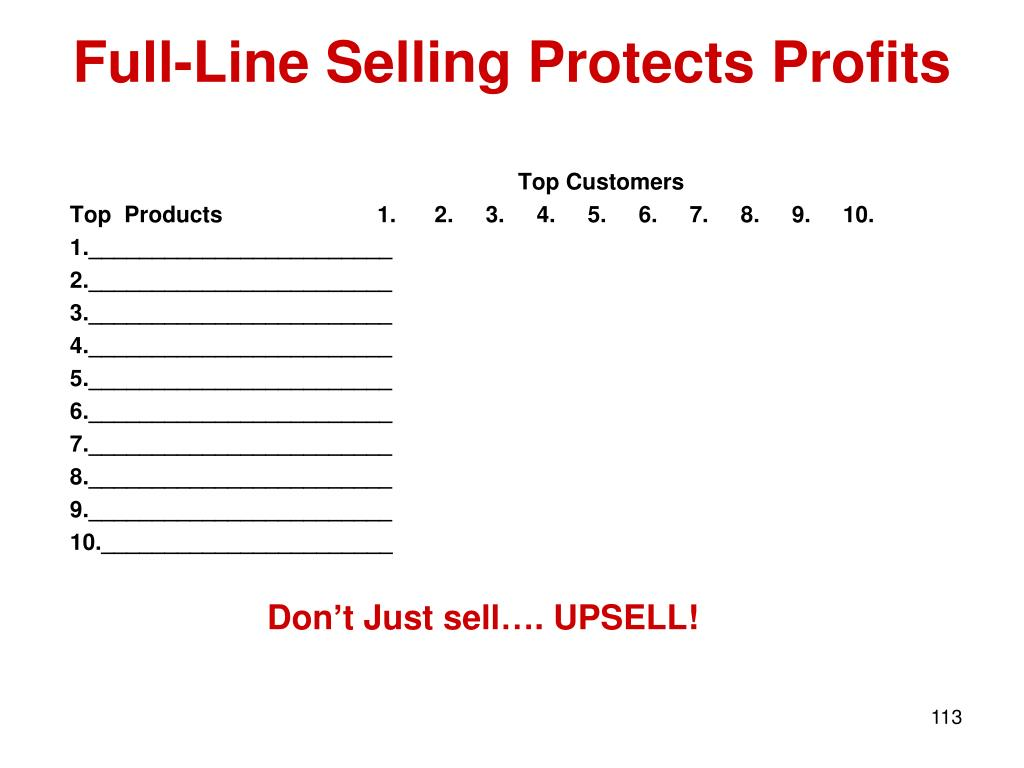 Full-Line Selling Protects Profits