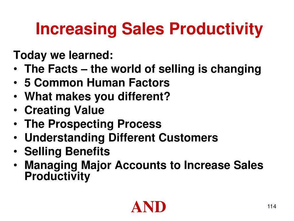 Increasing Sales Productivity