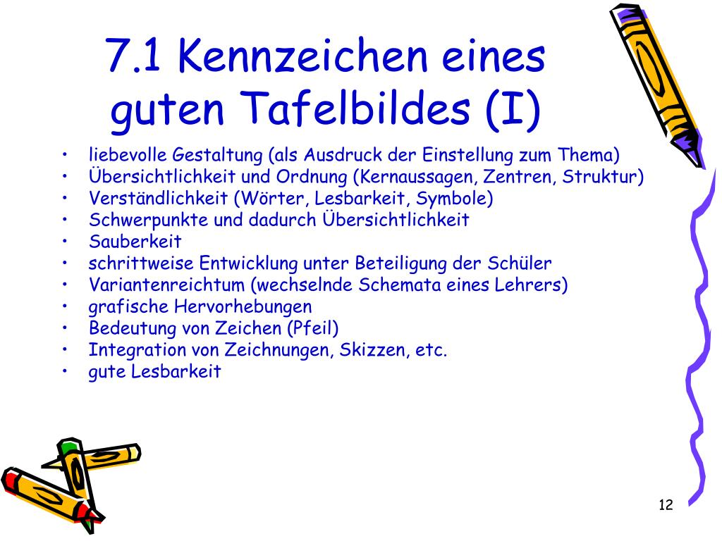 7.1 Kennzeichen eines guten Tafelbildes (I)