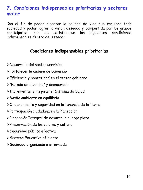 7. Condiciones indispensables prioritarias y sectores   motor