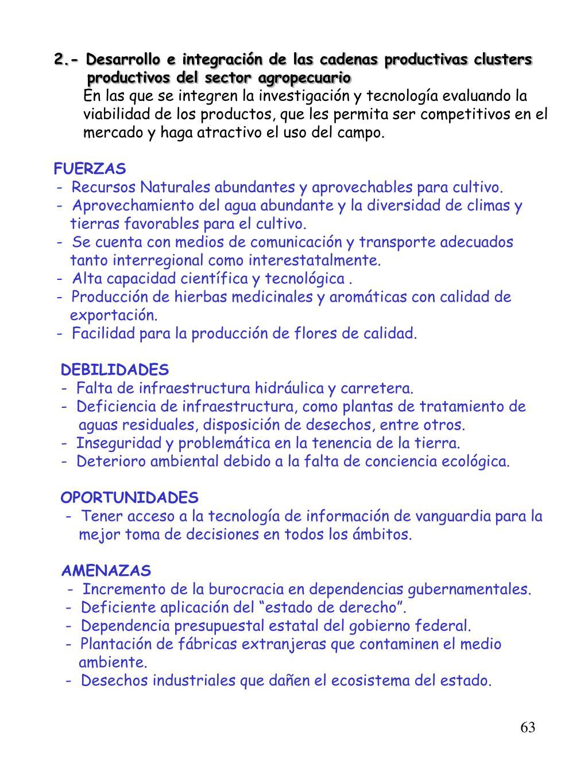 2.- Desarrollo e integración de las cadenas productivas clusters