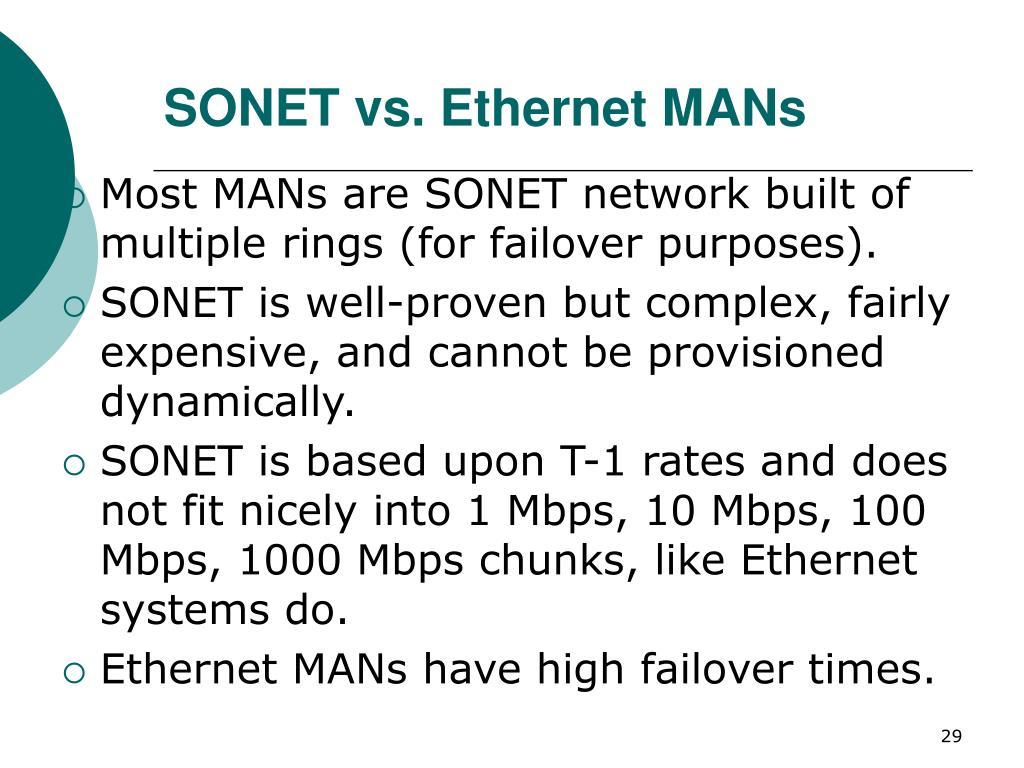 SONET vs. Ethernet MANs