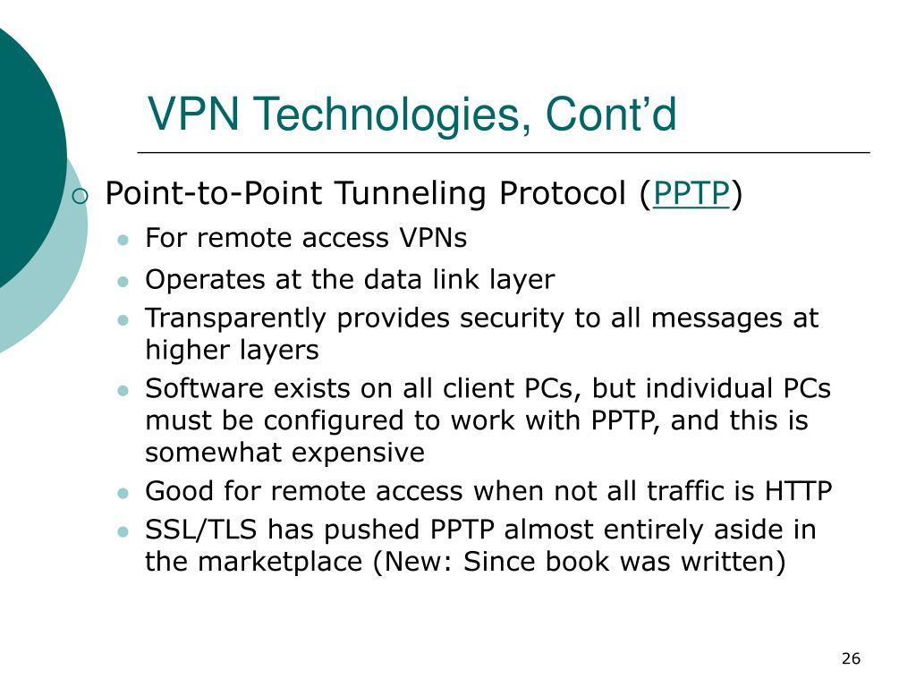 VPN Technologies, Cont'd