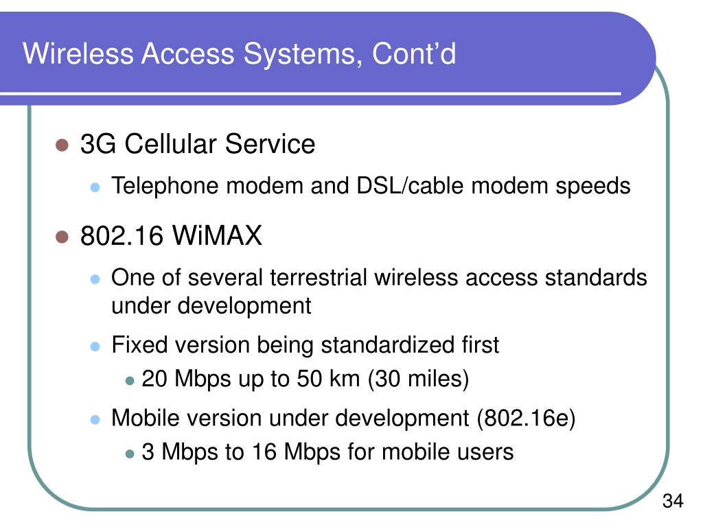 Wireless Access Systems, Cont'd
