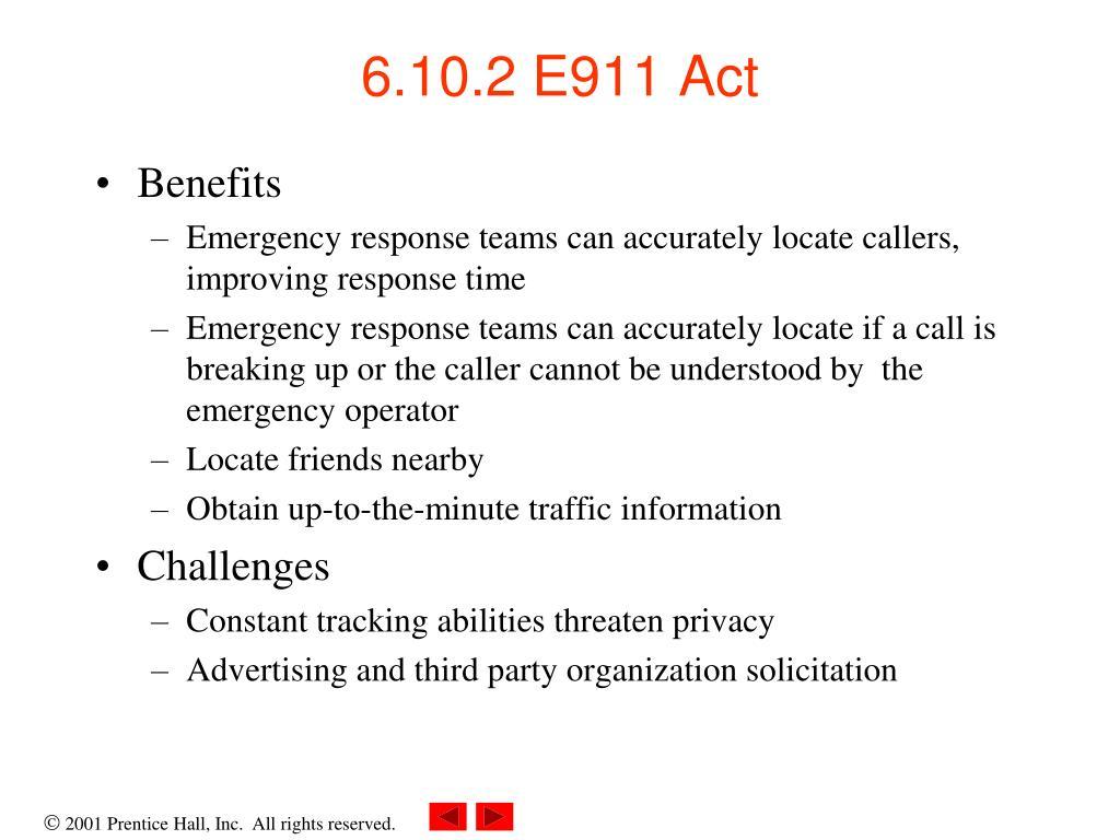 6.10.2 E911 Act