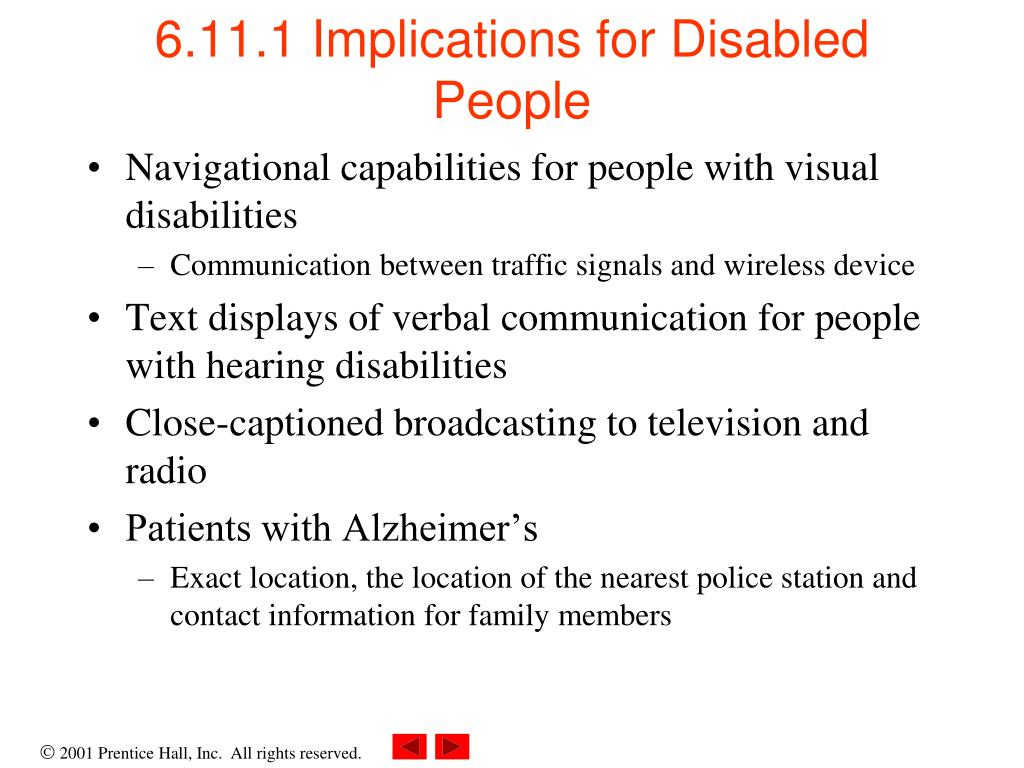 6.11.1 Implications for Disabled People