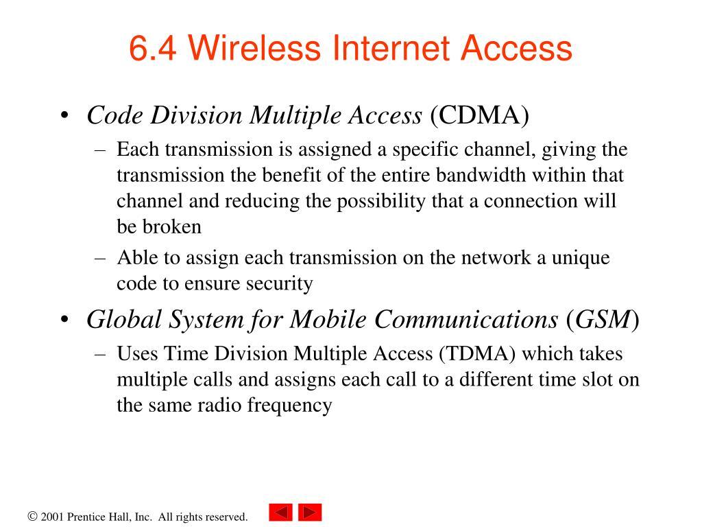 6.4 Wireless Internet Access