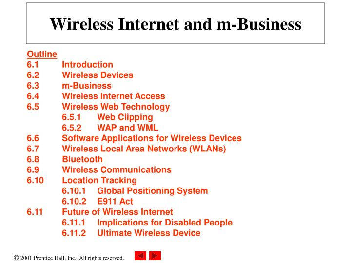 Wireless internet and m business
