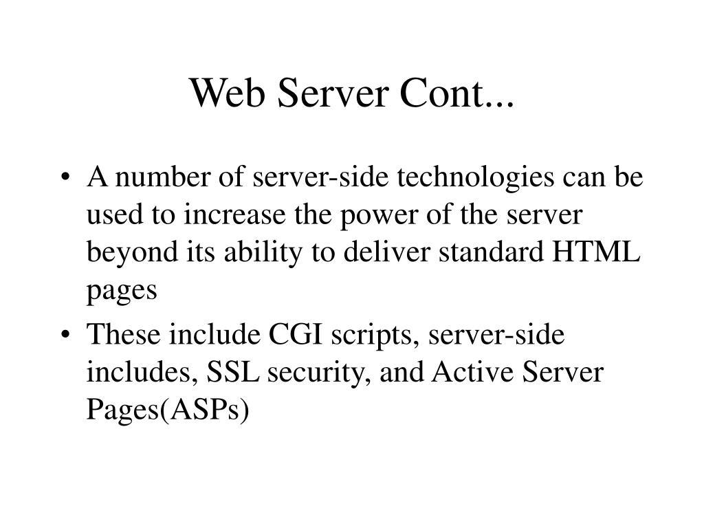 Web Server Cont...