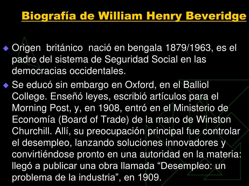 Biografía de William Henry Beveridge