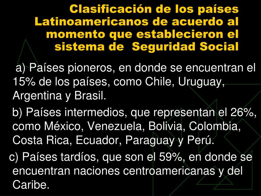 Clasificación de los países Latinoamericanos de acuerdo al momento que establecieron el sistema de  Seguridad Social