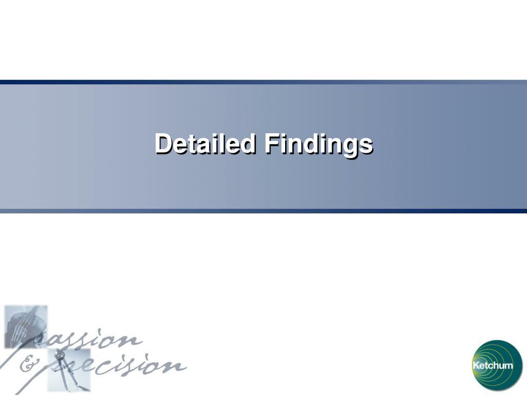 Detailed Findings