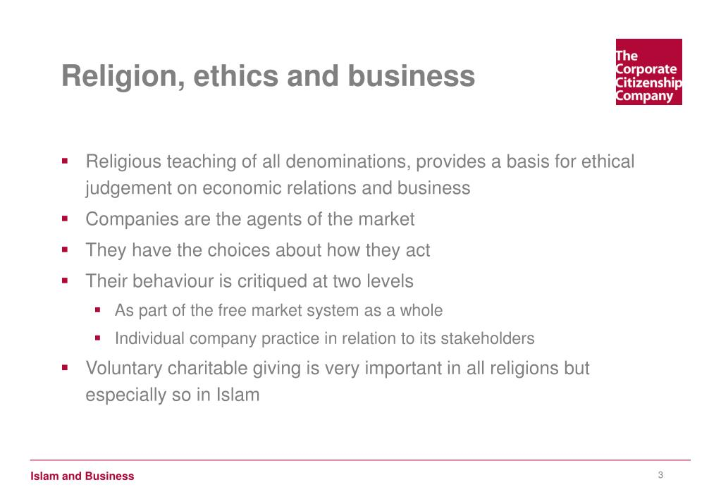 Religion, ethics and business