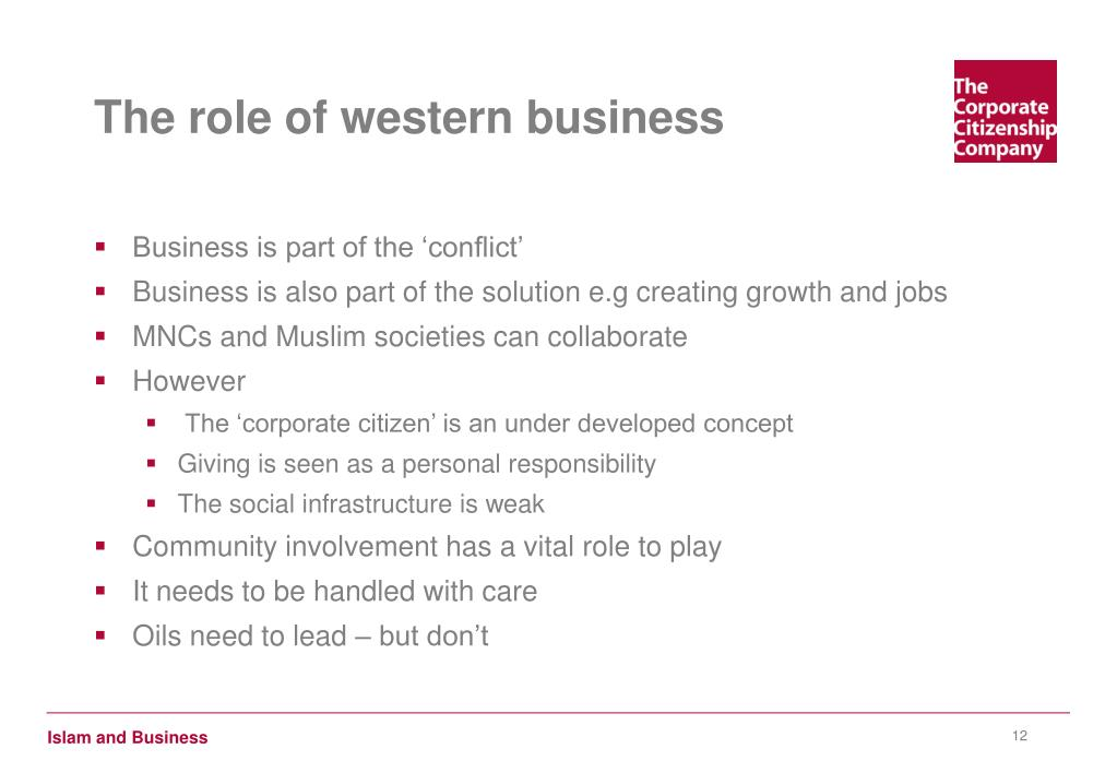 The role of western business