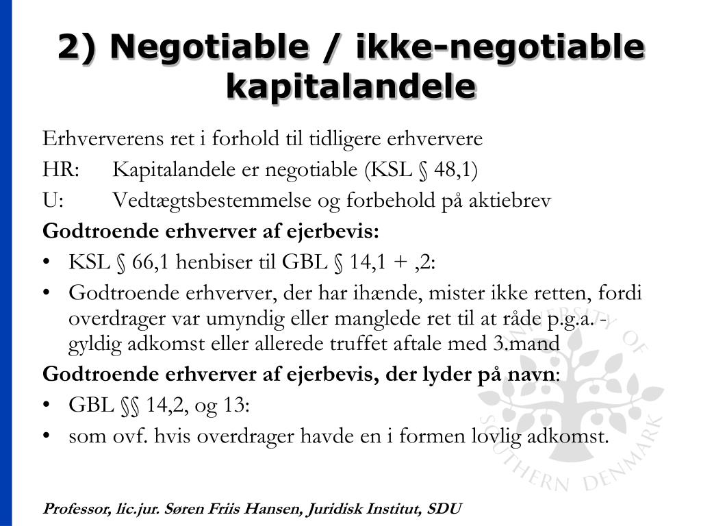 2) Negotiable / ikke-negotiable