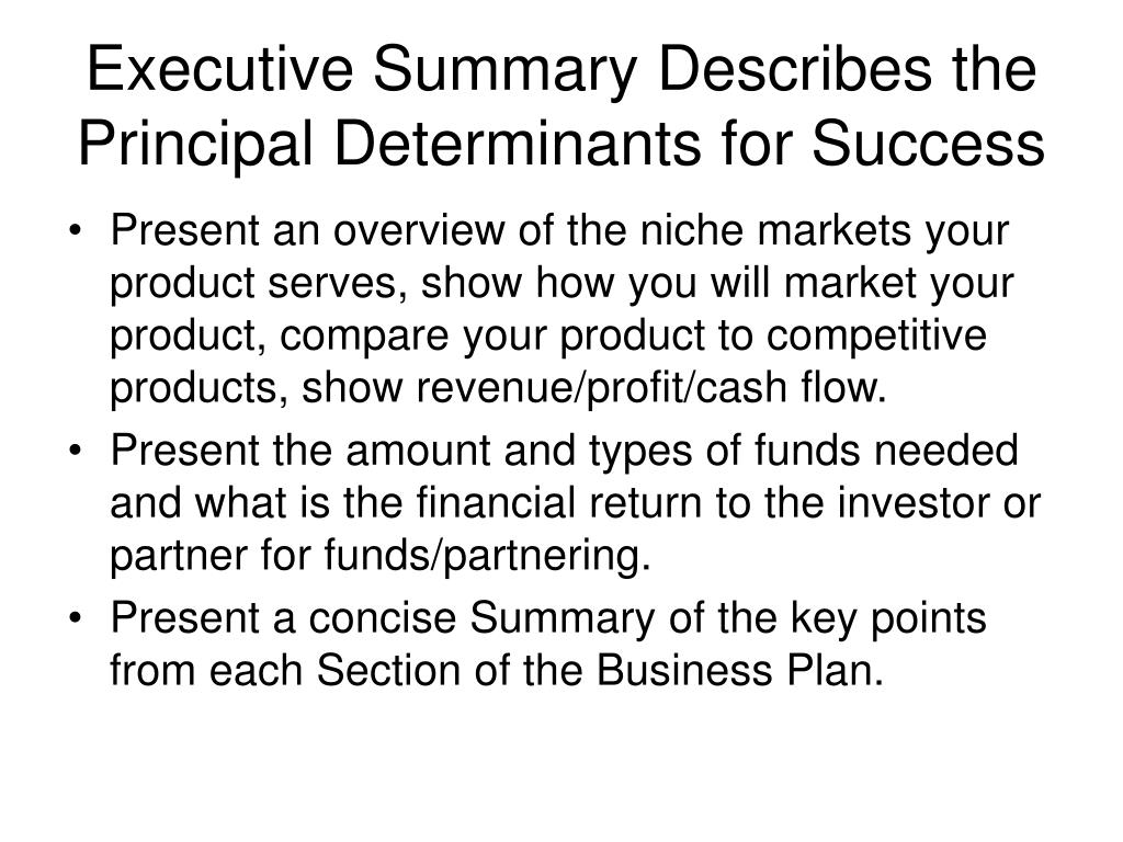 Executive Summary Describes the Principal Determinants for Success
