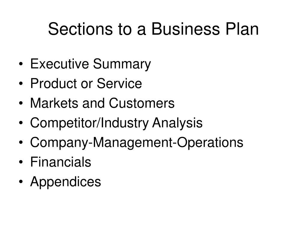 Sections to a Business Plan