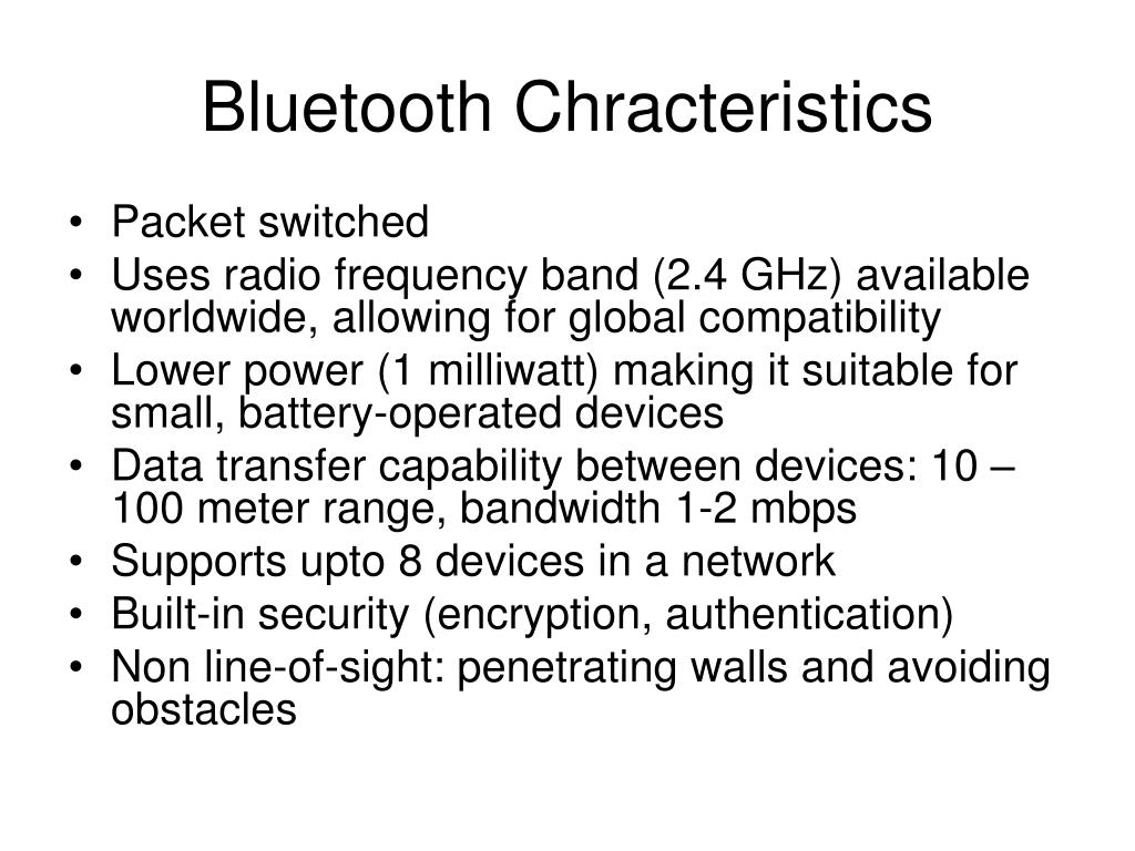 Bluetooth Chracteristics