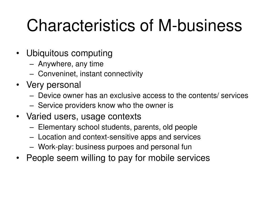 Characteristics of M-business