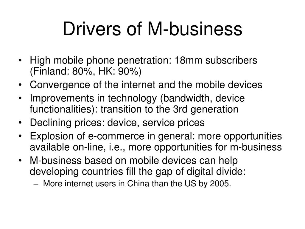 Drivers of M-business
