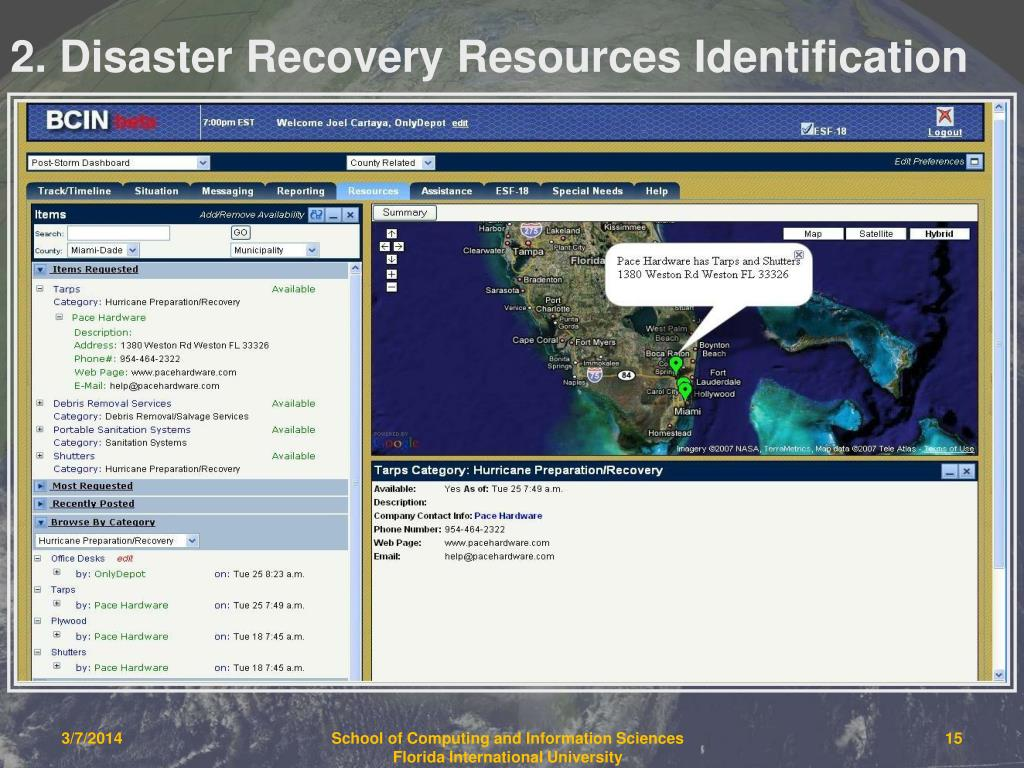2. Disaster Recovery Resources Identification