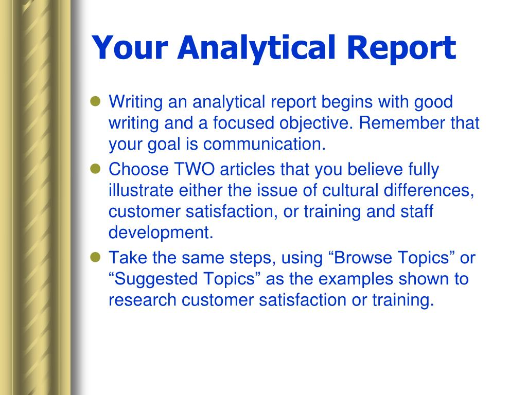 Your Analytical Report