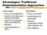 advantages traditional departmentation approaches