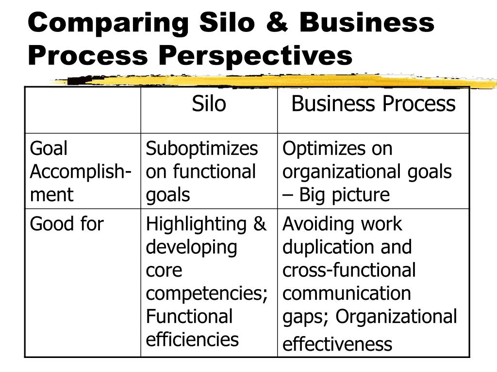 Comparing Silo & Business Process Perspectives