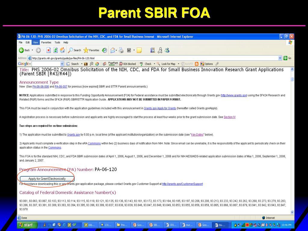 Parent SBIR FOA