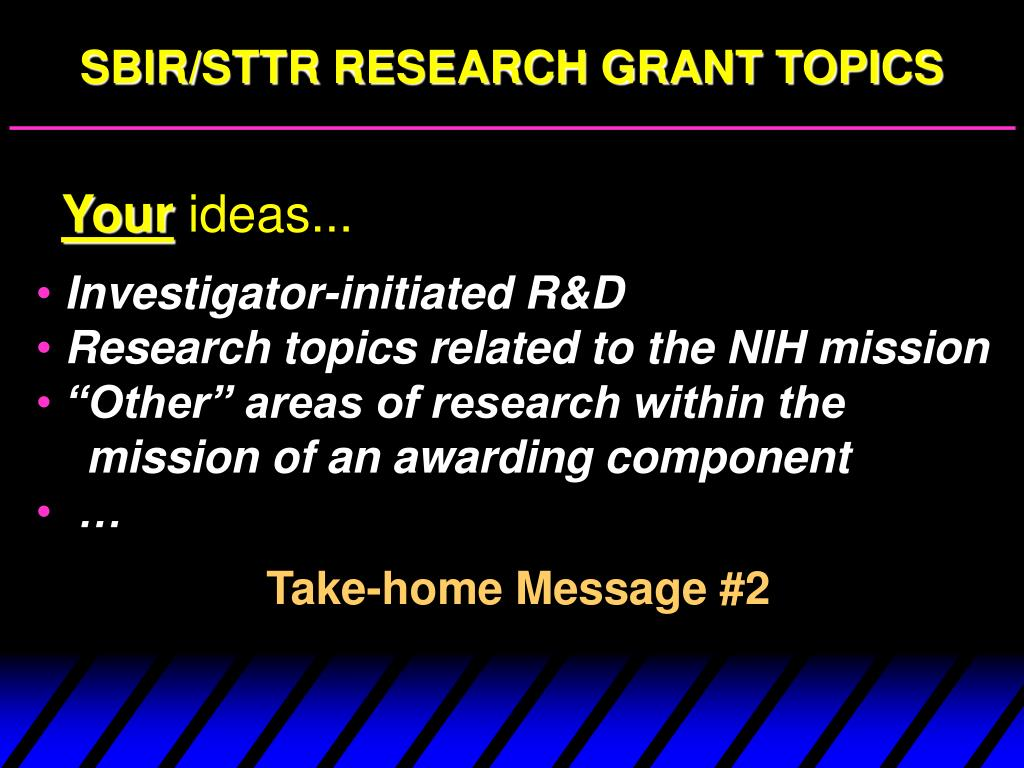 SBIR/STTR RESEARCH GRANT TOPICS