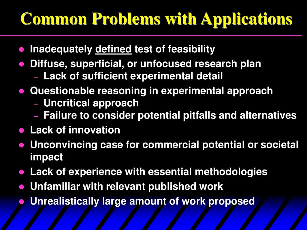Common Problems with Applications